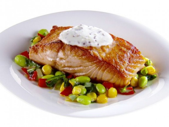 Pan-Seared Salmon with Summer Succotash – FishRecipes.net