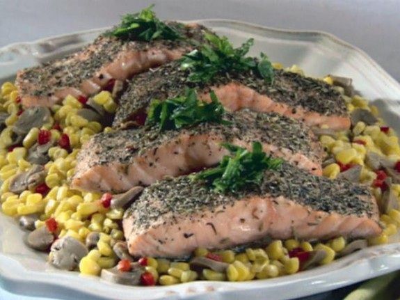 Herb Crusted Salmon with Sweet Corn and Mushrooms | FishRecipes.net